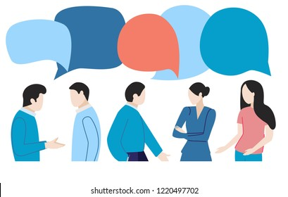 Vector illustration flat style people at work discuss problems, social networks, dialogue, news, chats, networking