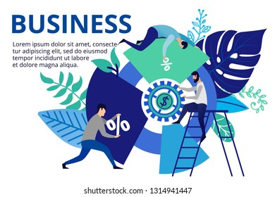 Vector illustration in flat style. People working with diagram for success business. People working hard for better future. Business concept for web banners and brochures.