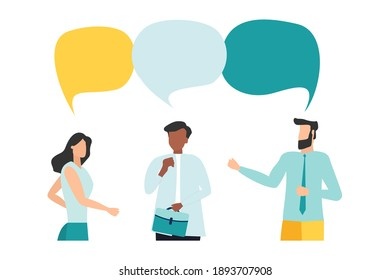 Vector illustration, flat style, people talk. People with thoughts on a white background, vector