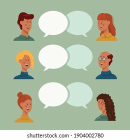 Vector illustration, flat style, people talk. 6 people, male and female with thoughts together on a green background, vector