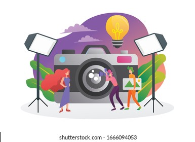 Vector illustration of flat style photographic equipment in a photography studio with lights and cameras. Female model posing for photos. Photographers at work