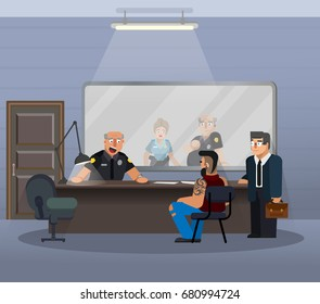 Vector illustration in a flat style, room for questioning a suspect in a police station. The scene of the work of the officers of the department of inquiries.