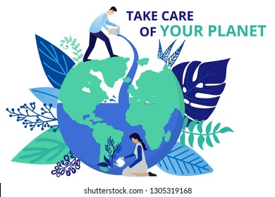 Vector illustration in flat style. Save the planet, save energy, the concept of the Earth day. Save of natural resources.  Can use for website, banners and brochure.
