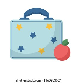 Vector illustration of a flat style. Schoolboy's blue lunch box and ripe red apple
