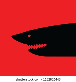 Vector illustration in flat style, Shark with open mouth and sharp teeth.