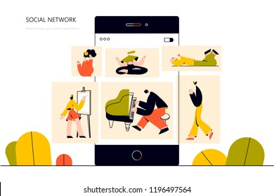 Vector illustration, flat style, social network, news, social networks, chat,  professions. Use in Web Project and Applications.