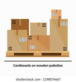 Vector illustration in flat style of the stack of cardboards standing on the wooden pallet. Warehouse equipment concept.
