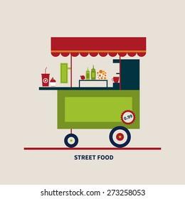 vector illustration flat style street food, banner, concept
