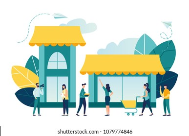 Vector illustration, flat style, various shops, discounts, purchase of goods and gifts, investing in real estate, shopping concept