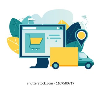 Vector illustration, flat style, various shops, discounts, buying and delivery of goods and gifts through online, real estate investment, shopping concept