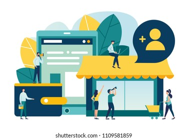 Vector illustration, flat style, various shops, discounts, purchase and delivery of goods and gifts through online, real estate investment, shopping concept, employee search, open vacancy
