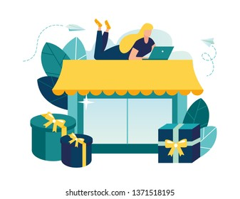 Vector illustration, flat style, various shops, discounts, purchase of goods and gifts, investing in real estate, shopping concept - Vector - Vector