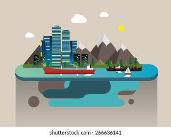 Vector illustration in a flat style,city port buildings and cargo ships.