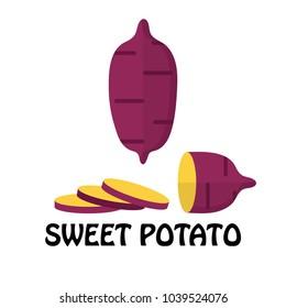 Vector Illustration Flat Sweet Potato isolated on white background , Raw materials fresh vegetable