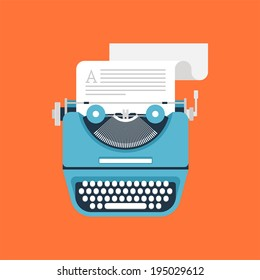 Vector illustration of flat vintage typewriter isolated on orange background.