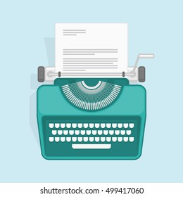Vector illustration of flat vintage typewriter. Concept of copywriting marketing information, public relations advertising text, social media campaign or blogging.