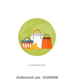 Vector illustration. Flat web shopping background. Internet store. Online shop. E-commerce and virtual trade. Shopping bag. Pay per click.
