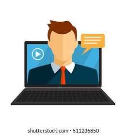 Vector illustration of a flat webinar, online conferences, lectures and training on the Internet online. flat vector illustration isolated. easy to use