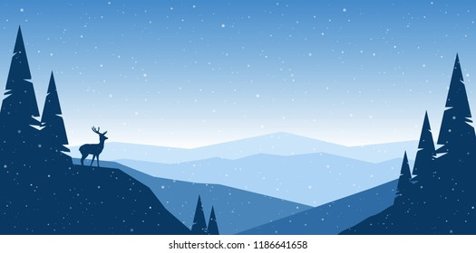 Vector illustration: Flat winter mountains landscape with hills, pine and silhouette of deer