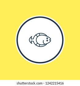 Vector illustration of flatfish icon line. Beautiful nautical element also can be used as aquatic icon element.