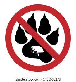 Vector illustration of flea ban mark with dog pawn on a white background. Symbol of protection against parasites.