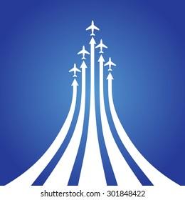 Vector illustration - flight airplane with vapor trail