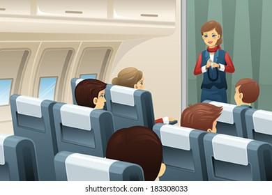 A vector illustration of flight attendant demonstrate how to fasten the seat belt to passengers