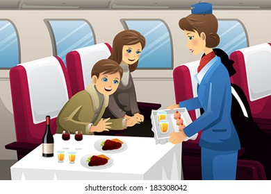 A vector illustration of flight attendant serving a passenger in an airplane