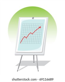 Vector illustration of flipchart with graph which shows growth of business.