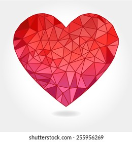 A vector illustration of a floating geometric triangle facet heart on a light gray background.