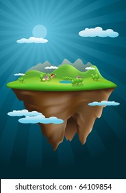 Vector illustration floating island. Mesh used. Elements are layered separately in vector file.
