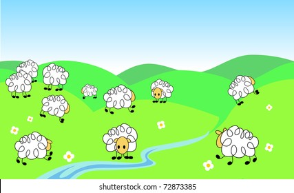 a vector illustration of a flock of funny sheep