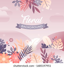 Vector illustration of floral background with flowers and leaves in trendy flat style with bright vibrant gradient colors and text space designed for banner, poster, greeting card and invitation card