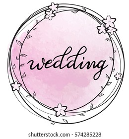 Vector illustration of a floral circle frame with 'Wedding' text