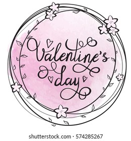 Vector illustration of a floral circle frame with 'Valentine's day' text