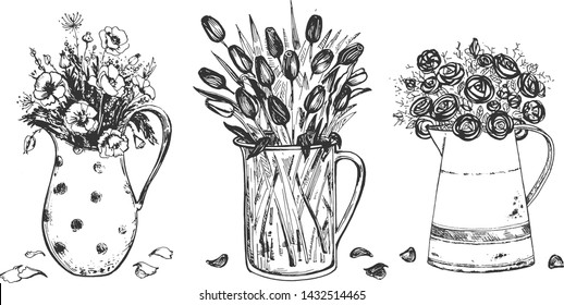 Vector illustration of floral composition set. Spring flowers in metal and glass carafe. Poppy, tulip, rose. Vintage hand drawn style.
