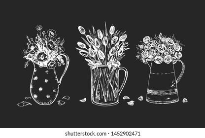 Vector illustration of floral composition set. Spring flowers in metal and glass carafe. Poppy, tulip, rose. On black board chalk hand drawing