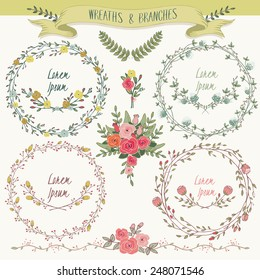 Vector illustration of a floral frame collection. A set of beautiful wreaths with flowers and branches for wedding invitations and birthday cards