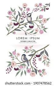 Vector illustration of a floral frame with little birds on branch in spring. Design for cards, party invitation, Print, Frame Clip Art and Business Advertisement and Promotion