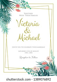 Vector illustration of a floral frame with tropical leaves for Wedding, anniversary, birthday and party.