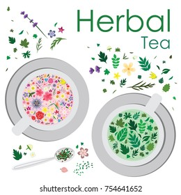 vector illustration for floral and herbal tea with flowers and leaves decoration in two mugs