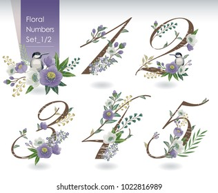 Vector illustration of floral numbers collection in spring. A set of beautiful flowers and numbers for wedding, invitations and birthday cards.