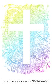 Vector illustration of floral ornament with cross zentangl, dudling. Jesus Christ, the 10 Commandments, sword, cup, bible, chain. Gradient.