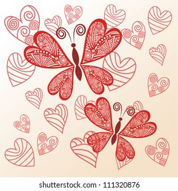 Vector illustration of floral pattern background butterfly love heart