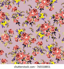 Purple and yellow flower images stock photos vectors shutterstock a vector illustration of a floral pattern flower pattern with a light purple background and salmon mightylinksfo