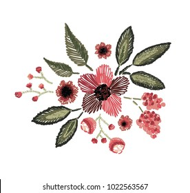 vector illustration. floral pattern in the style of embroidery. the design of the schedule for prints on clothes. an example of embroidery on fabric. stylish patterns from plants and flowers