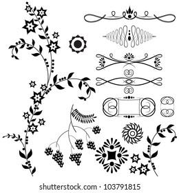 Vector illustration of floral patterns and design elements