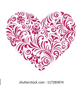 Vector illustration of floral red valentine heart  isolated on white background.