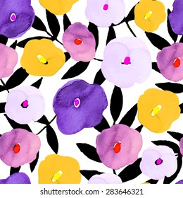 Vector illustration of floral seamless. Isolated yellow, pink, purple , lilac flowers and black branch on a white background, drawing watercolor.