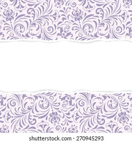 Vector illustration of  floral seamless pattern with torn paper.